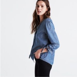 Madewell Denim Tie Sleeve Top